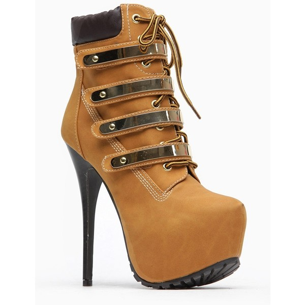 Breckelles Gold Plated Chestnut Lace Up Booties - Polyvore