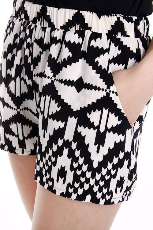 Black and white Aztec Print Shorts on Wanelo
