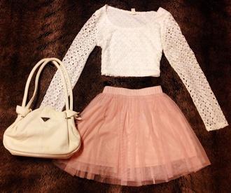shirt white pink skirt white shirt pink skirt tulle skirt prada bag prada crop tops mesh lace forever 21 cute outfit cute outfits bag