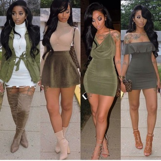 shirt nude heels nude top army green skater skirt see through mesh top