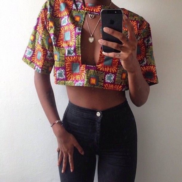 top colorful crop tops tribal pattern shirt crop top and high waisted jeans african print tank top print clothes pretty perfect jeans style fashion t-shirt colorful trendy african pattern african american high waisted jeans