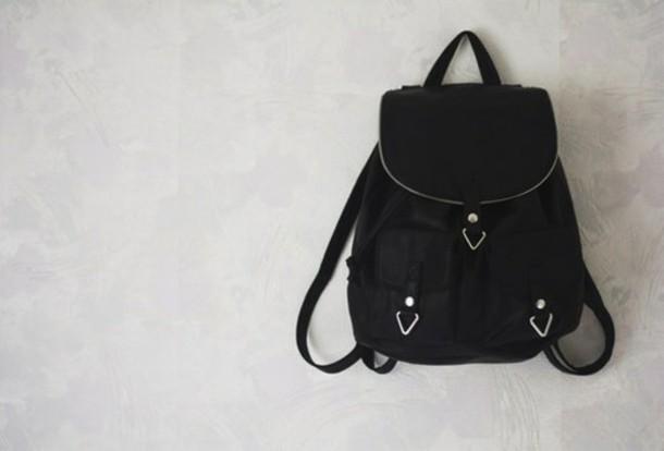bag black leather backpack