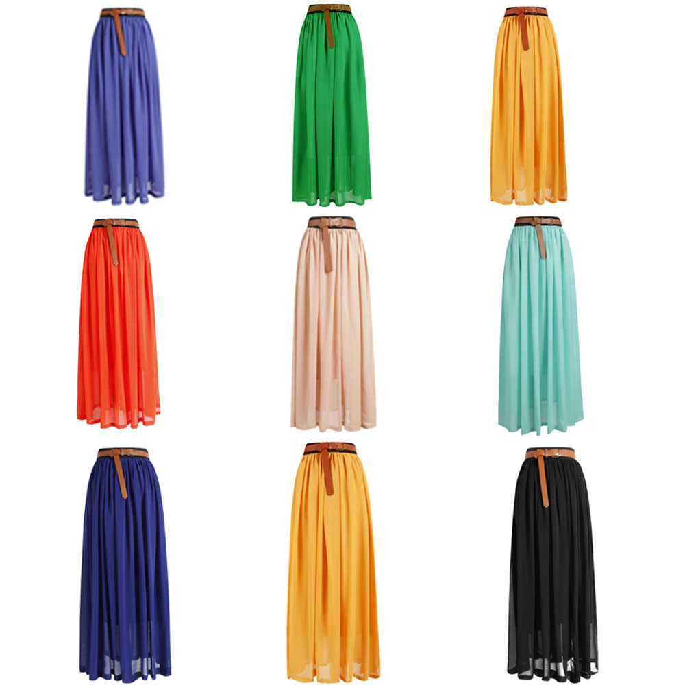 Women Double Layer Chiffon Pleated Retro Long Elastic Waist Maxi Dress Skirt | eBay