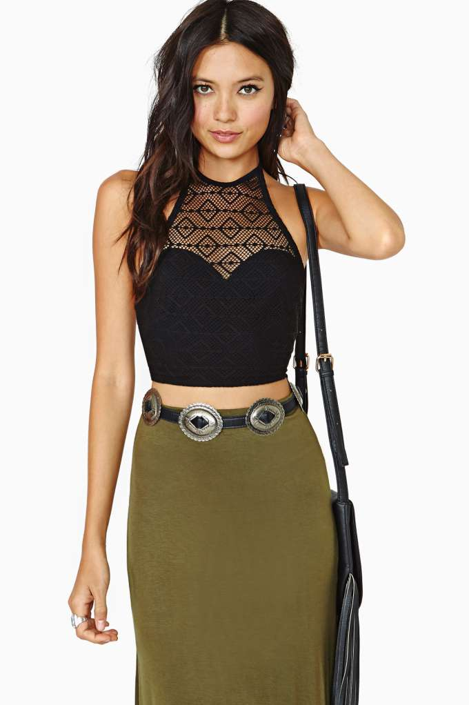 Nasty Gal Faithfull Crochet Halter Top in  Clothes Tops Cropped at Nasty Gal
