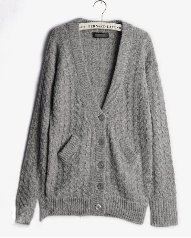Retro Beige Knit Cardigan with Pockets, the latest street style collection