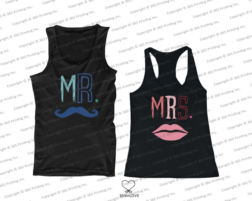 His and Her Matching Tank Tops for Couples Mr Mustache and Mrs Lips | eBay