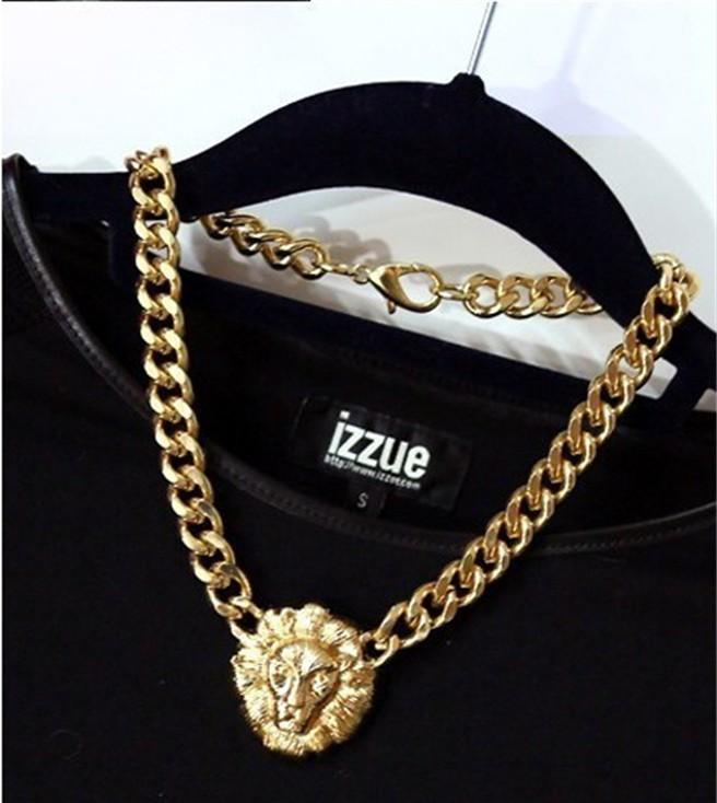 Fashion Style Lion Head Pendant Gold Flat Chain Statement Choker Chunky Necklace   eBay