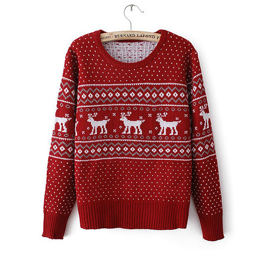 Simple Autumn 2013 New Cotton Casual Pullover Colorblock Deer Print Knitted Sweater for Women Free Shipping-in Pullovers from Apparel & Accessories on Aliexpress.com
