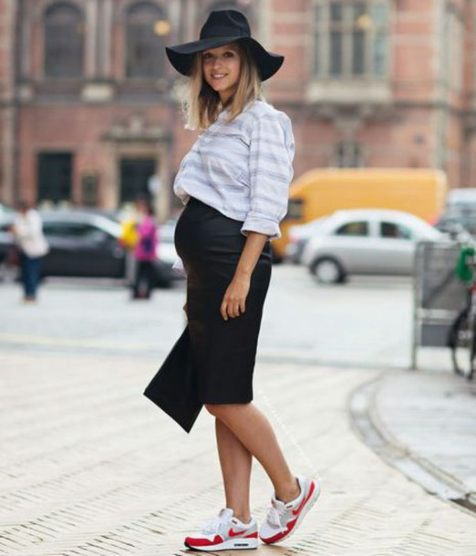 sweater striped sweater floppy hat maternity black skirt sneakers