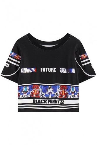 shirt fashion robot crop tops kawaii