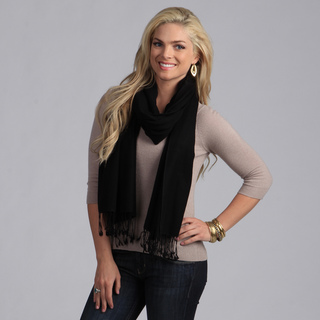 Peach Couture Women's Black Wool Scarf | Overstock.com Shopping - The Best Deals on Shawls & Wraps