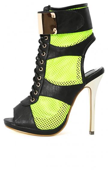 Summer-Stunner Lace Up Fastener Mesh Heels | MakeMeChic.com
