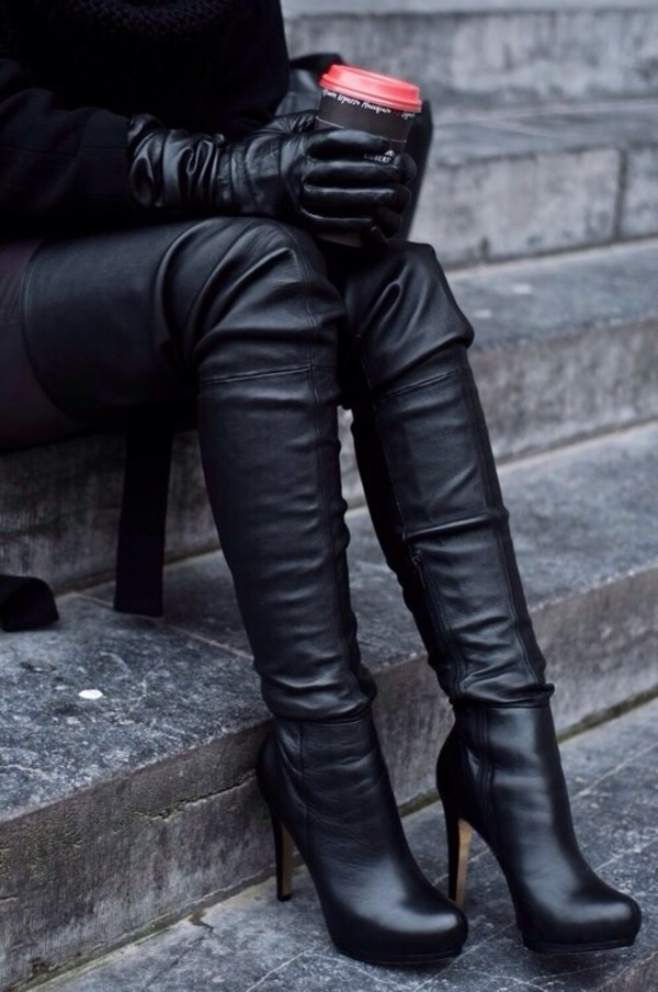 shoes boots high heels black high heel boots all black everything all black everything winter outfits gloves jackboots leather high heels thigh high boots leather black boots leather boots thigh highs over the knee over the knee boots