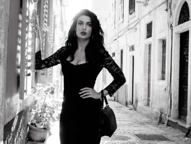 dress little black dress lace knee length dress bodycon dress sexy greece greek black lace dress slim fit dress black bag retro