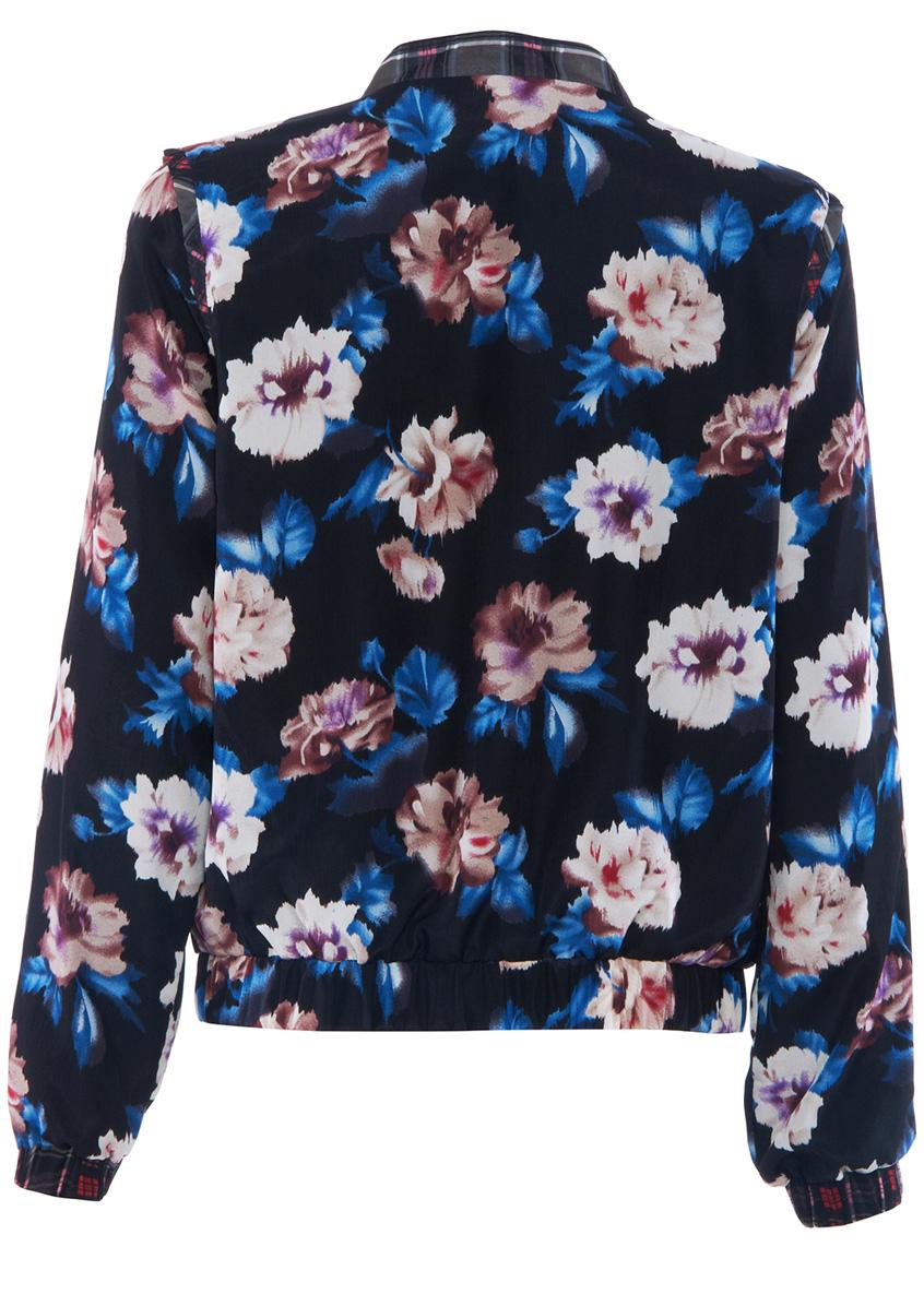 Black Contrast Plaid Trims Floral Print Jacket - Sheinside.com