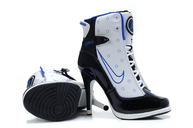 Nike Air Jordan 13 High Heels Shoes in White - Black/Blue Colors Womens