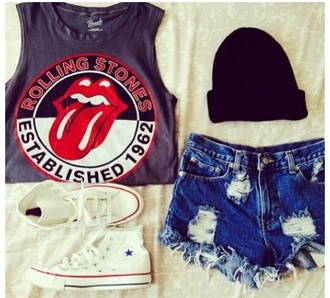 t-shirt the rolling stones tounge red black hipster established 1962 mouth shorts