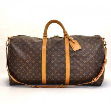 Louis Vuitton Keepall 60 Bandouliere Monogram Canvas Duffel Travel Bag   Strap on Wanelo