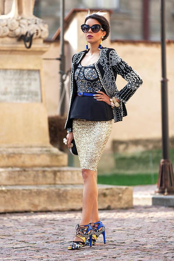 macademian girl jacket t-shirt skirt shoes bag sunglasses jewels belt
