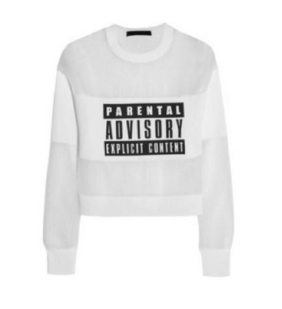 'Parental Advisory Explicit Content' Mesh Jersey Sweatshirt | RubyLiu Boutique