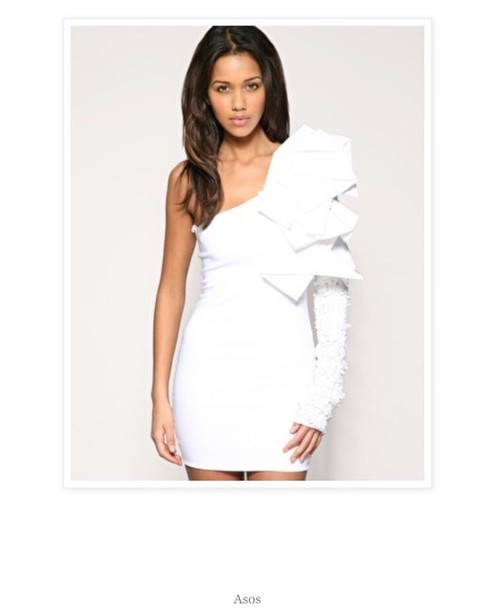 dress ruffle long sleeve dress white dress ruffle dress bodycon dress bodycon one shoulder
