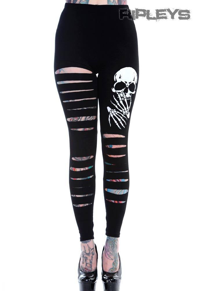 Banned Punk Goth Black Leggings Slash Rip Skull Skeleton Hands All Sizes | eBay