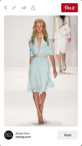 dress blue summer summe dress tiffany belt low neck knee length blue dress summer dress tiffany blue low neck line knee length dress