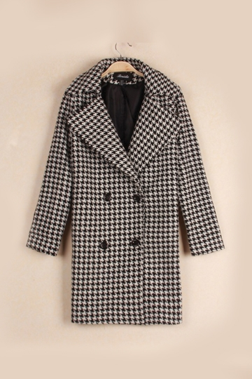 Houndstooth Wool Double Breasted Coat [FEBK0336]- US$ 38.99 - PersunMall.com