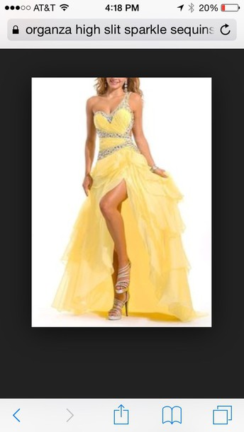 dress organza high slit yellow prom dress