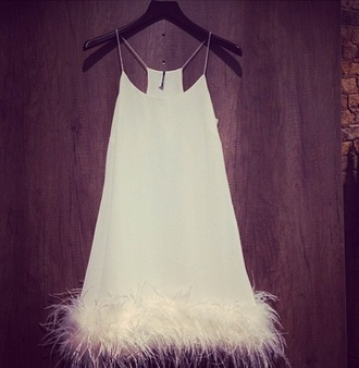 dress white white dress fur trim mini dress