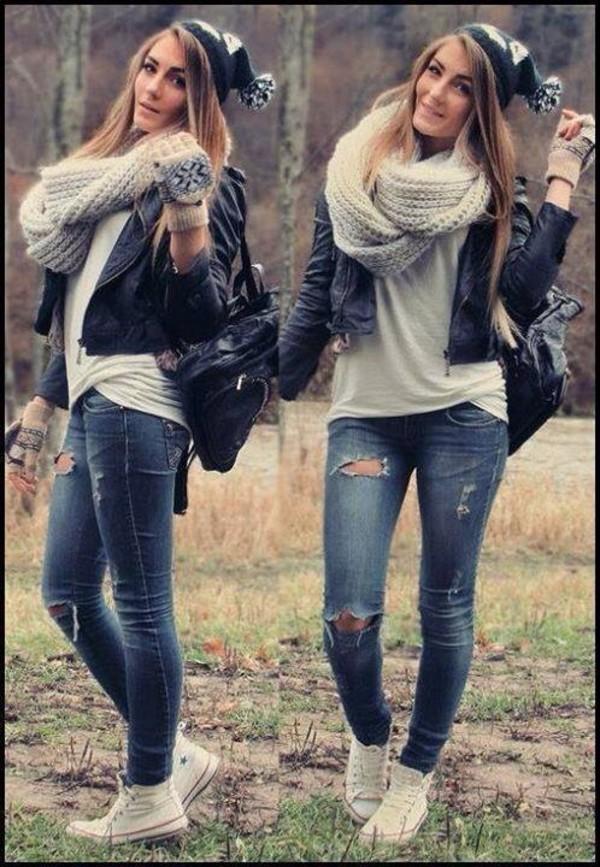 bag hat scarf jacket jeans t-shirt shoes