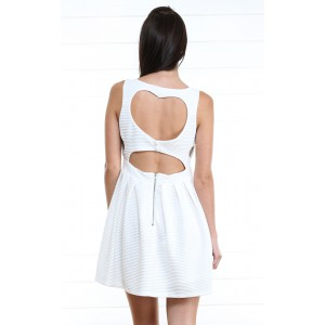 White Sweet Heart Cut Out Pleated Dress and Shop Dresses at MakeMeChic.com