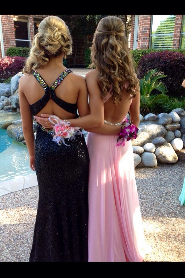 dress black sparkly dress prom dress long prom dress open back