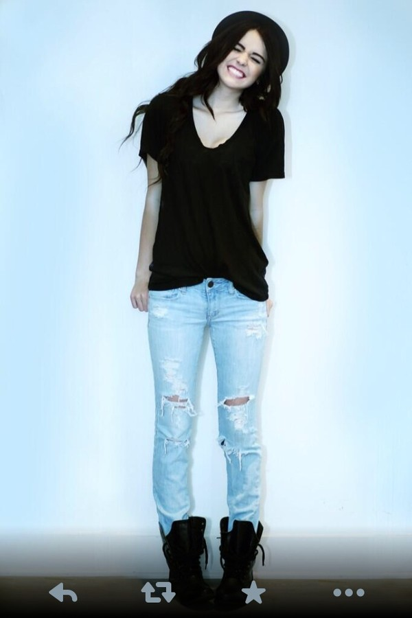blouse black jeans ripped jeans shoes hat