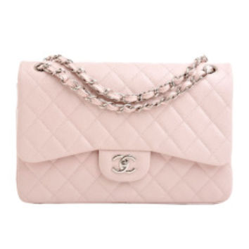 Chanel Green Quilted Lambskin Large Mini Classic 2.55 Shoulder Flap Bag on Wanelo