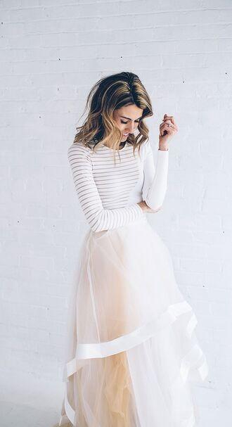 skirt pink white classy tulle skirt t-shirt top white top dress