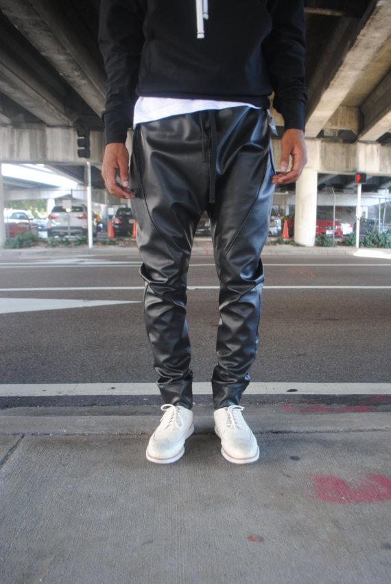 Black Faux Leather Drop Crotch Harem pants // Unisex by GAGTHREADS
