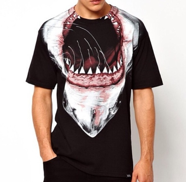 t-shirt shark swag tyga mens t-shirt animal face print