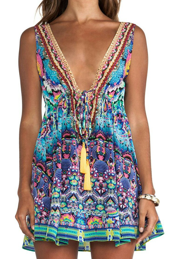 tribal pattern bright tassel patterned dress sequin dress casual dress spring outfits boho