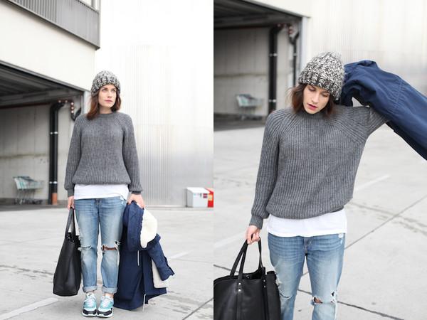 vienna wedekind sweater jeans hat coat