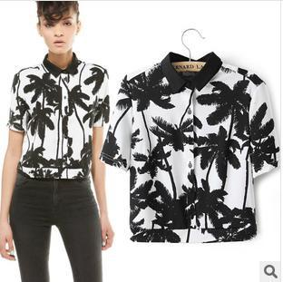 D7545  Palm tree pattern knit short sleeved shirt  B36-in T-Shirts from Apparel & Accessories on Aliexpress.com