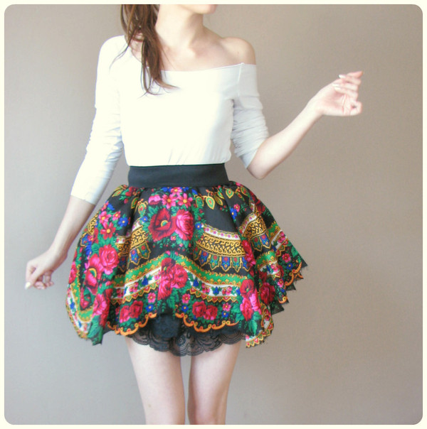 skirt folk floral floral skirt the skirt that the main singer wears in the music video for my slowianie