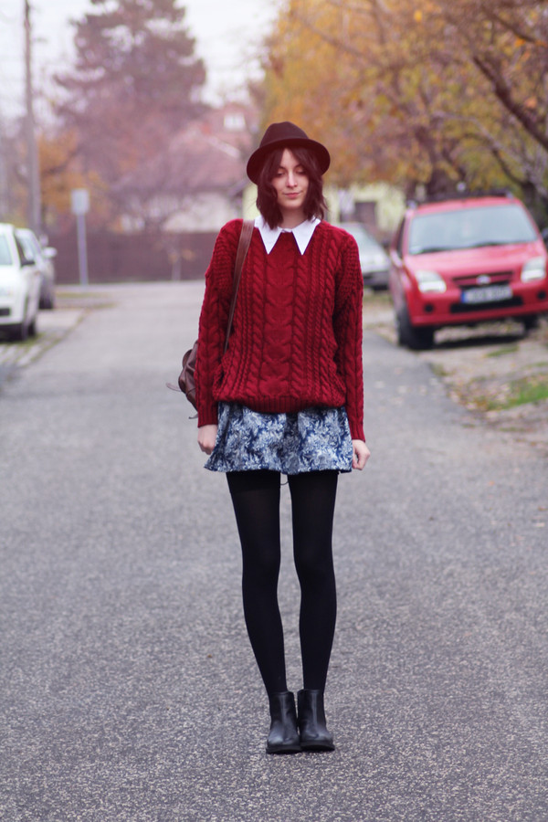 mes memos sweater skirt shoes hat