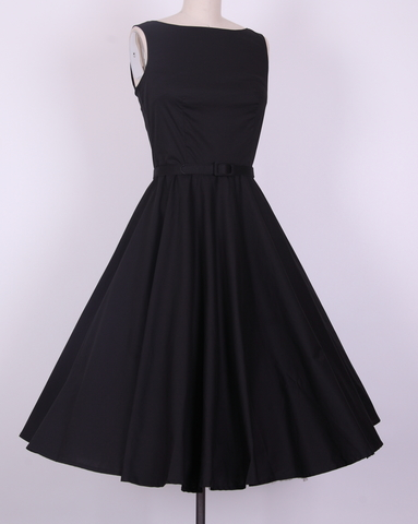 Audrey Hepburn Boatneck swing dress black AH2011A [AH2011A] - £29.99 : Queen of Holloway, Dressing Shop