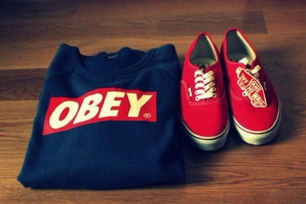 sweater obey vans red shoes sneakers