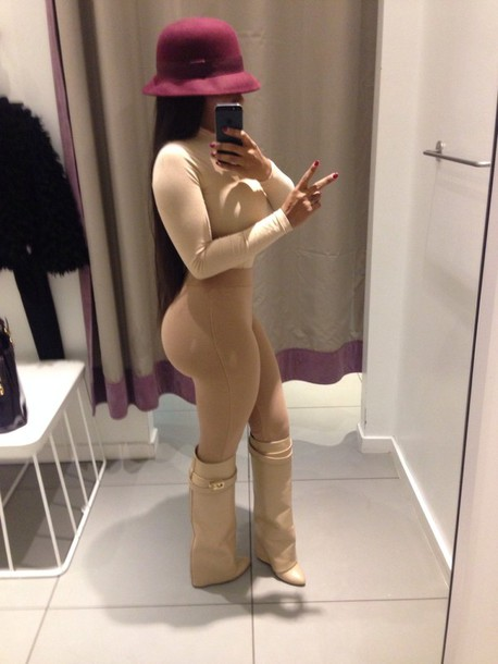 shoes brown leather boots shirt pants hat leggings beige nude nude leggings high waisted leggings white boot boots bodysuit