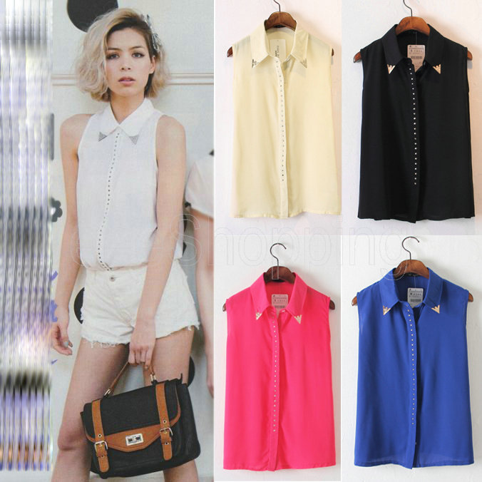 Q390 New Womens Ladies Sleeveless Casual Sexy See through Chiffon Blouses Shirts Rivet Metal Decorated on the Collar Point S/M/L-in Blouses & Shirts from Apparel & Accessories on Aliexpress.com