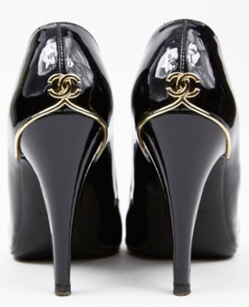 Chanel CC Patent Leather Pumps High Heels Black 39 5 | eBay