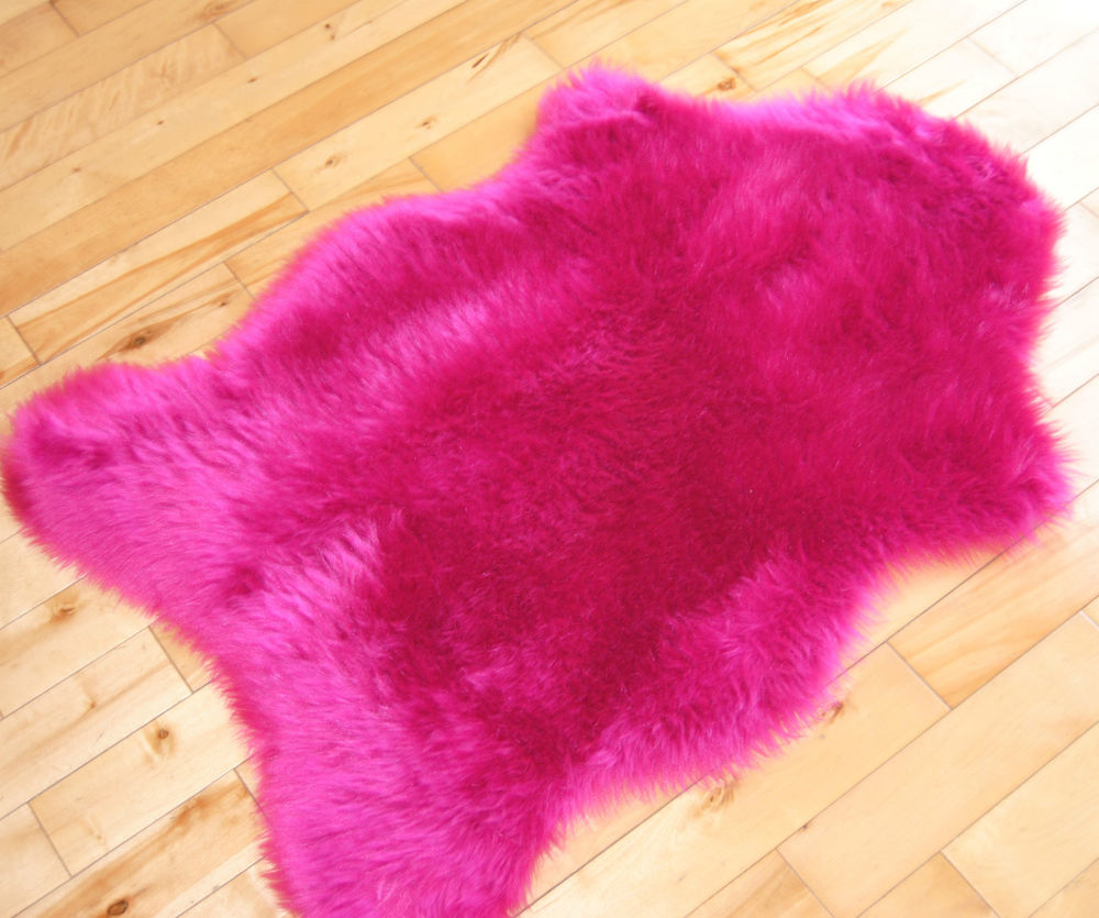 Top Cheap Bright Pink Sheepskin Fluffy Plain Rug Soft Faux Fur Fake  QA53
