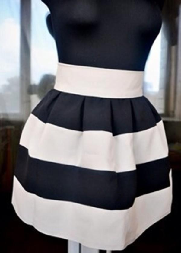 skirt black and white stripe skirt